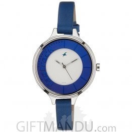 Fastrack Brass Case Silver Dial Analog Watch for Women (6122SL01)