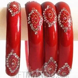 Lava Red Color Glass Bangles 2 pcs Set (Size 2-4)