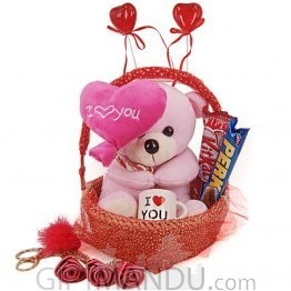 Valentine Gift - Heart Teddy, Mini Love Cup, Chocolates, Rose Keyring