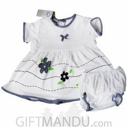 Cotton Dress for Girl - Blue & White (Two Sizes Available)