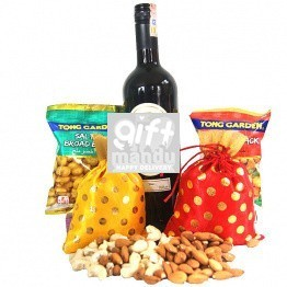 Staff Pick Imported Sweet Red Wine With Dry Nuts Bags And Snacks (5 Items)
