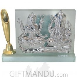 Crystal Frame of Silver Plated Laxmi Ganesh with Pen Holder
