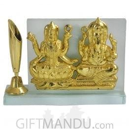 Crystal Frame of Glden Plated Laxmi Ganesh with Pen Holder
