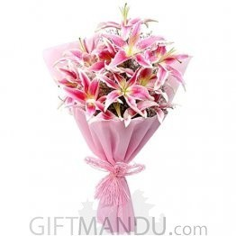 Beautiful Bouquet of 6 Lily Flowers Wrapper