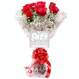 Ten Lovely Long Stem Red Roses Bunch