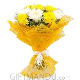 White and Yellow Carnations Bouquet Wrapper