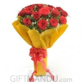 Lovely 18 Red Roses Bouquet Yellow Wapper
