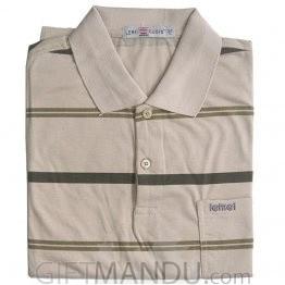 Beige Color Regular Fit Stripe T-Shirt (XL)