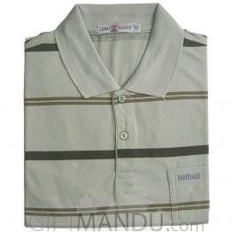 Light Green Color Regular Fit Stripe T-Shirt (XL)