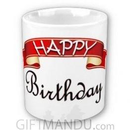 Happy Birthday Cup (Curly Ribbon Design)