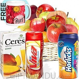 Fruit Basket, Fruit Juice, Horlicks and Viva with Free Coffee Mug