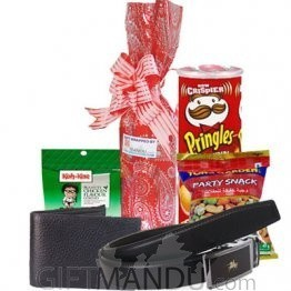 Sweet Red Wine, Leather Wallet, Belt and Snacks