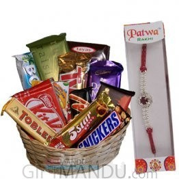 Dozen Chocolates in Basket with Rakhi