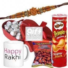 Gourmet Chocolates, Pringles, Dry Nut, Custom Mug and Rakhi