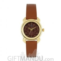 Titan Women Brown Patterned Dial Watch 2534YL03