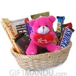 Love Teddy on Dozen-Chocolates Basket