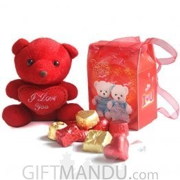 "Special Gourmet Assorted Chocolates in Beautiful Bag with ""I Love You"" Teddy Bear"