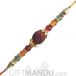 Rudraksha Rakhi - Decorated With Rudraksha, Stones & Pearls