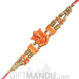 Ganesh Ji Special Rakhi - Ganesh Sitting Decorated Design