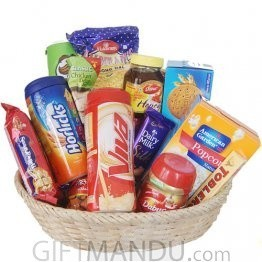 All-in-One Basket - Biscuits, Viva, Horlicks, Snacks and More (15 Items)