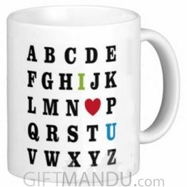 Valentine Love Mug With Personalized Message Print (Alphabet)