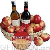 Two Spanish Sweet Wine Bottles in Apple Basket