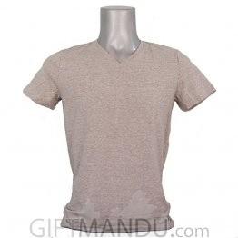 Light Ash Gray Casual Cotton Tshirt (V-Neck)