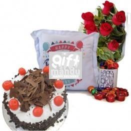 Birthday Cushion With Star Cake, Chocolates, Flowers And Birthday Mug
