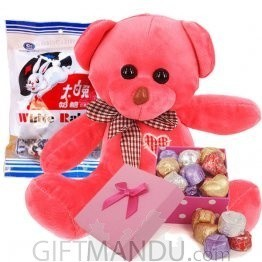 Cute Teddy Bear With White Rabbit And Gourmet Chocolates