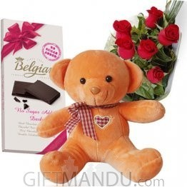 Belgian Chocolate Bar, Cute Teddy Bear and Roses - Belgian