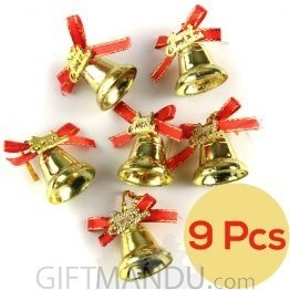Christmas Tree Decoration Golden Bells (9Pcs)
