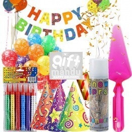 Birthday Party Kit - Banner, Hats, Poppers, Cake Server, Candles, Balloons, Spray (7 Items)