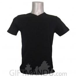 Black Casual Cotton Tshirt (V-Neck)