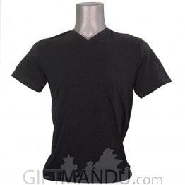 Black Gray Casual Cotton Tshirt (V-Neck)