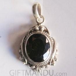 Silver Pendant - Black Zircon Stone