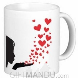 Valentine Love Mug With Personalized Message Print (Blow Hearts to You)