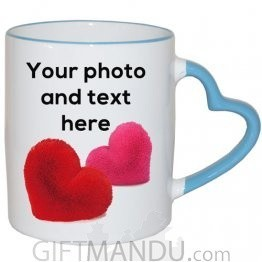 Custom Heart Handle Love Mug (Print Your Photo and Text) - Blue