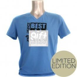 Sabai Bhanda Best Dad Ever Tshirt - Blue (Limited Edition - V Neck)