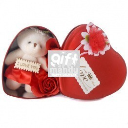 Red Heart Shaped Tin Box with Teddy and Roses Inside