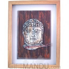 Wood Crafted Buddha Face Wall Frame