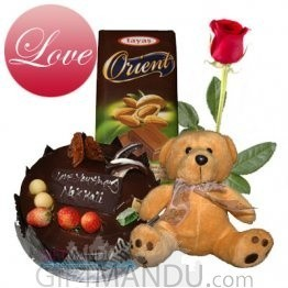 Cake, chocolate, teddy bear and FREE Red Roses (Staff Pick)