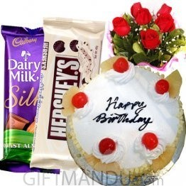 Cadbury-Hershey's Chocolates, Cake and Flowers Treats