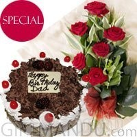 Five-Star Hotel Cake with Half Dozen Red Roses Bouquet