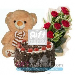 Cake, Teddy Bear and Flower