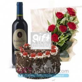 Cake, Wine and Flower