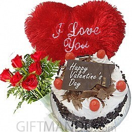 Five Star Cake, Red Heart Pillow and Roses