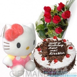 Five Star Cake, Cute Hello Kitty and Roses