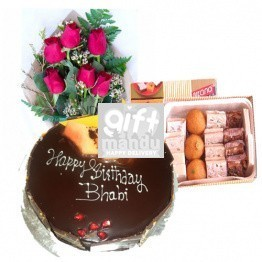 Five Star Cake, Mithai Box and Fresh Flower Bouquet