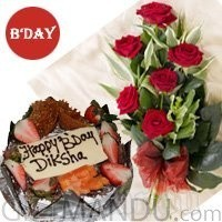 Five Star Black Forest Cake and Half Dozen Red Roses Bunch