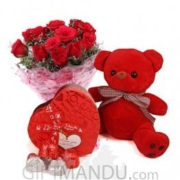 Valentine - Red Teddy Bear, Roses and Red Chocolate Box